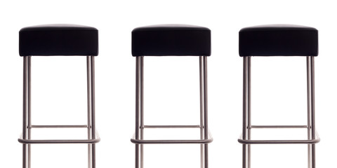 three bar stools isolated on a white background