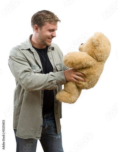 man with teddy bear