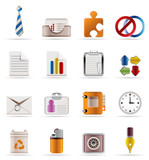 Realistic Business and Office Icons poster