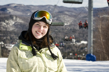 Portrait of woman skier