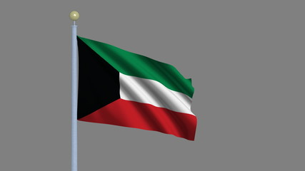 Flag of Kuwait with alpha matte for easy isolation