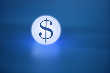 glowing light sphere  with dolar  american sign