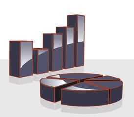graph statistiques 3D noir