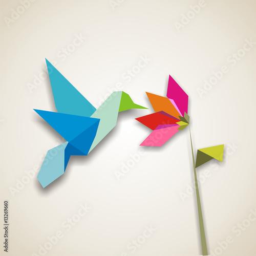 Deurstickers Geometrische dieren Origami hummingbird