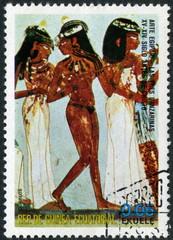 Guinea Ecuatorial. Fresque égyptienne. Timbre.