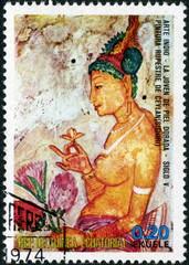 Guinea ecuatorial. Art indien. timbre.