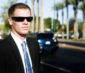 Professional agent wearing shades