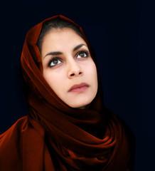 Arab girl in red scarf