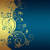 Fototapety Blue background with golden flowers