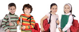 Four children students returning to school poster