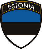 vector estonia crest flag on withe background poster