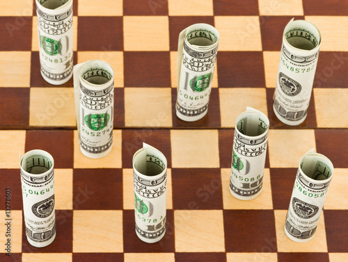 Money on chess board
