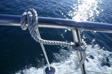 Marine fender knot around boat lee