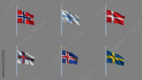 Set of six country flags with alpha matte