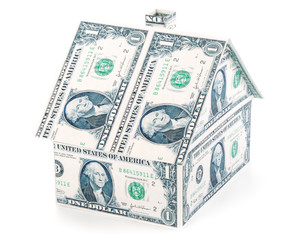 Small house from banknotes