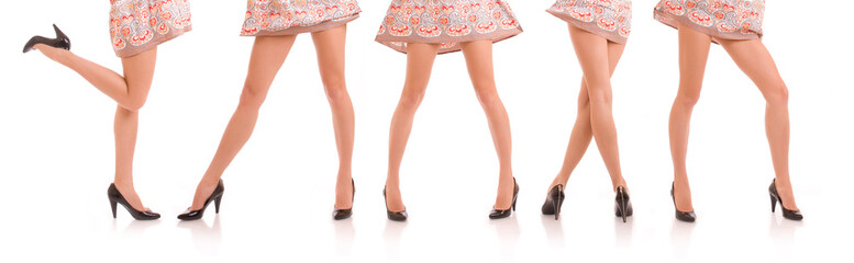Group of beautiful female legs
