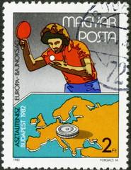 Hongrie. Timbre postal.  Ping Pong. 1982.