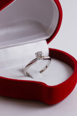 Engagement Diamond Ring In a Red Heart Shaped Box