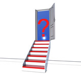 Open door and Red stairs leading to unknown future metaphor poster