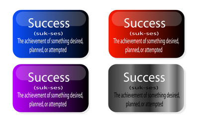 Definition of Success on various colour icons