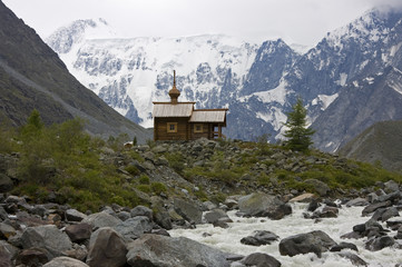 Orthodox chapel in mountains