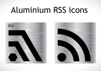 Two stylish metal RSS icons.
