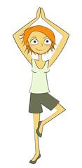 femme yoga équilibre
