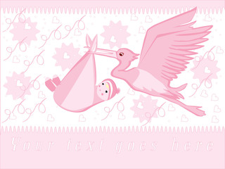 Children's illustration and clip-art of stork and baby