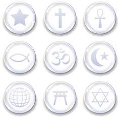 Religious icon on glass orb vector button set