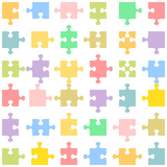 Jigsaw puzzle pieces of various shapes fitting each other