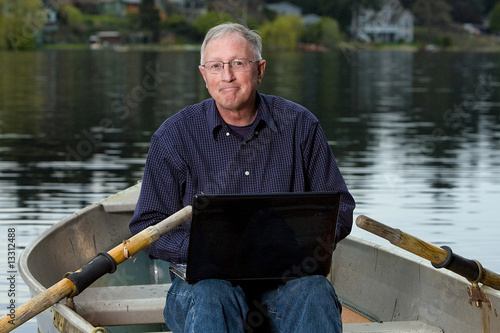 old man on a laptop computer