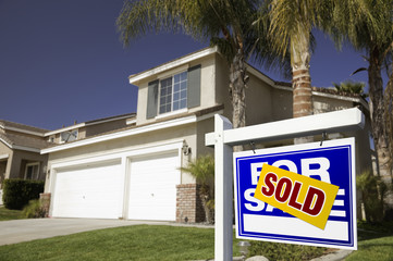 Blue Sold For Sale Real Estate Sign and House