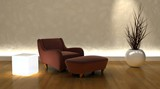 contemporary arm chair and ottoman in moderen setting poster