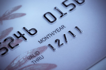 Macro close-up of credit card