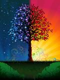 Fototapety Day and night tree