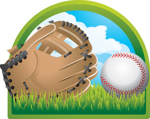 baseball and glove on lawn