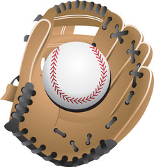 isolated baseball and glove