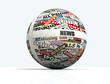 news globe, sphere realized with clippings of newspaper