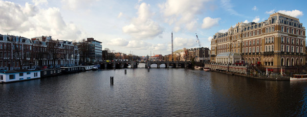 Panoramic view of Amsterdam canal