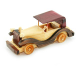 Retro car wooden model isolated poster