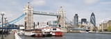 Panoramic picture of Tower Bridge and City of London.