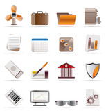 Realistic Business and Office Icons - Vector Icon Set 2 poster