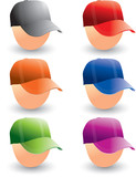 Multiple colored hats on heads
