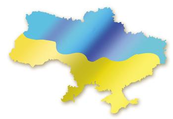 A map of Ukraine in fluttering flag's image