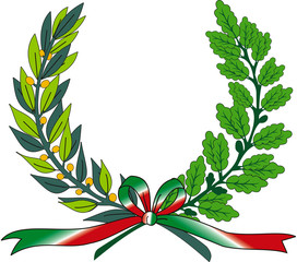 vector wreath with leafs and ribbon