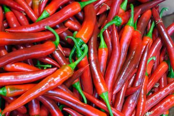Long red chile peppers -- Capsicum annuum Amando