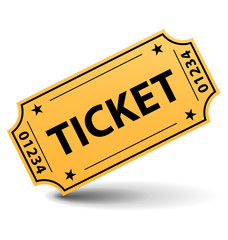 Yellow cinema ticket
