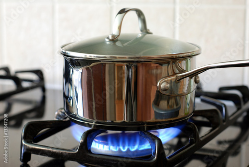 Fotobehang Koken Pot on the gas stove
