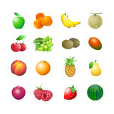 Set of colorful fruits for calorie table illustration poster