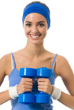 Young woman in sportswear with dumbbell, isolated poster